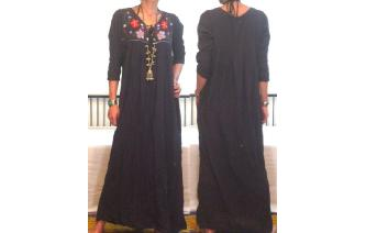 ETHNIC VTG MEXICAN EMBROIDERED HIPPIE MAXI DRESS Image