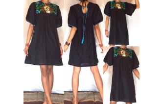 Vtg BLACK MEXICAN EMBROIDERED SMOCK TUNIC DRESS M7 Image