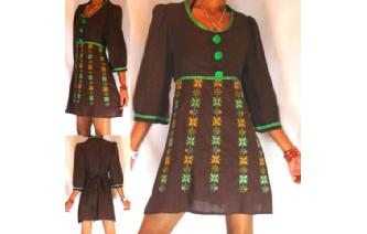 VTG BABY DOLL EMPIRE EMBROIDERED MEXICAN DRESS M12 Image