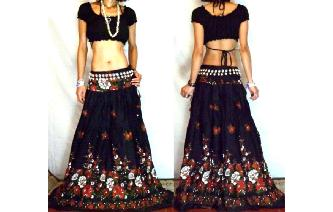 URBAN ETHNIC LONG PATCH BOHO GYPSY FULL SKIRT I75 Image