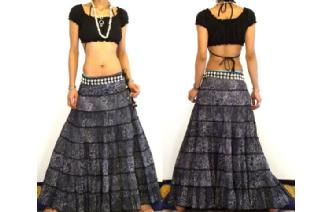 ETHNIC BOHO GYPSY HIPPIE PATCH TIERED SKIRT I79 Image