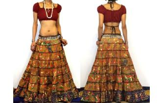 ETHNIC BOHO GYPSY HIPPIE PATCH TIERED SKIRT I81 Image