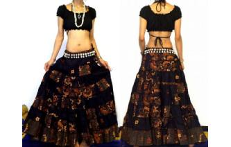 ETHNIC BOHO GYPSY HIPPIE PATCH TIERED SKIRT I83 Image