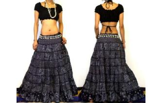 ETHNIC BOHO GYPSY HIPPIE PATCH TIERED SKIRT I84 Image