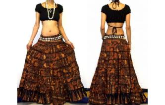 ETHNIC BOHO GYPSY HIPPIE PATCH TIERED SKIRT I86 Image