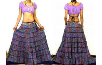ETHNIC BOHO GYPSY HIPPIE PATCH TIERED SKIRT I90 Image