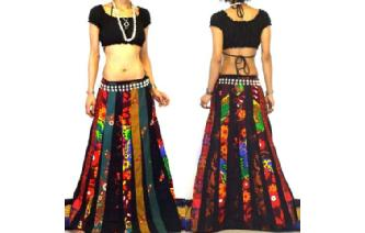 ETHNIC BOHO LONG PATCH PANELED HIPPIE SKIRT I91 Image