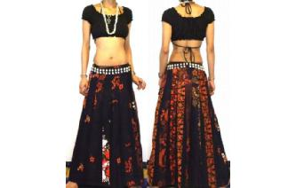 ETHNIC BOHO LONG PATCH PANELED HIPPIE SKIRT I92 Image