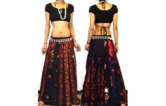 ETHNIC BOHO LONG PATCH PANELED HIPPIE SKIRT I93 Image