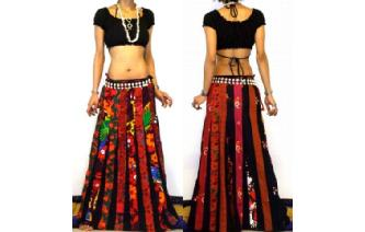ETHNIC BOHO LONG PATCH PANELED HIPPIE SKIRT I94 Image
