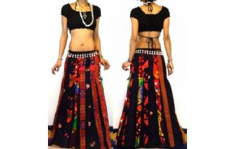 ETHNIC BOHO LONG PATCH PANELED HIPPIE SKIRT I95 Image