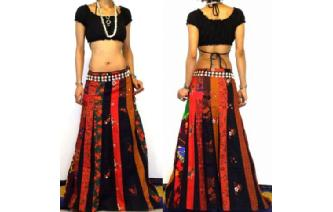 ETHNIC BOHO LONG PATCH PANELED HIPPIE SKIRT I96 Image