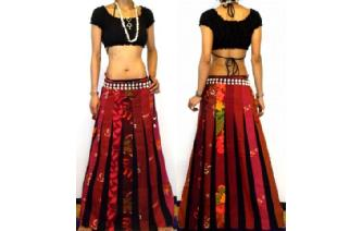 ETHNIC BOHO LONG PATCH PANELED HIPPIE SKIRT I97 Image