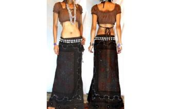GOTH ETHNIC VISCOSE RAYON EMBROIDERED SKIRT I105 Image