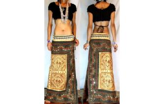 GOTH ETHNIC VISCOSE RAYON EMBROIDERED SKIRT I107 Image