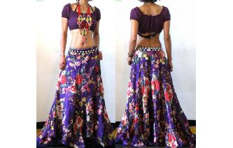 ETHNIC BATIK FLOWER PANELED BOHO HIPPIE SKIRT I109 Image