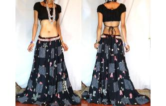 GYPSY BOHO HIPPIE ETHNIC CHIFFON PATCH SKIRT I110 Image