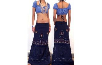 ETHNIC HIPPIE RAYON EMBROIDERY BEADED SKIRT I111 Image