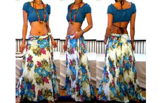 ETHNIC TIE WAIST GYPSY PANELED HIPPIE SKIRT I116 Image