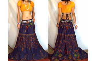 URBAN ETHNIC LONG PATCH BOHO GYPSY FULL SKIRT I123 Image