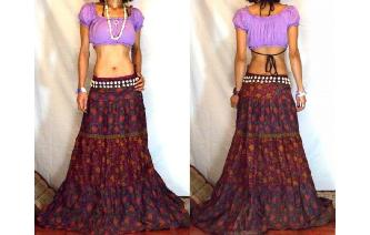 URBAN ETHNIC LONG PATCH BOHO GYPSY FULL SKIRT I124 Image
