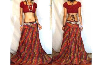URBAN ETHNIC LONG PATCH BOHO GYPSY FULL SKIRT I125 Image