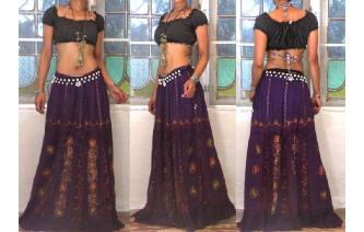 ETHNIC EMBROIDERED PANELED HIPPIE BOHO MAXI SKIRT Image