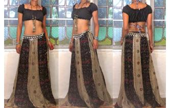 ETHNIC EMBROIDERED PANELED HIPPIE PATCH MAXI SKIRT Image