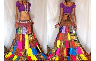 ETHNIC PATCH BOHO GYPSY HIPPIE LONG SKIRT 6-16 I1 Image