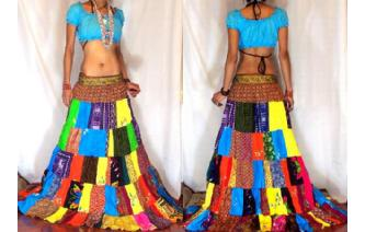 ETHNIC PATCHWORK BOHO GYPSY HIPPIE LONG SKIRT 6 I2 Image