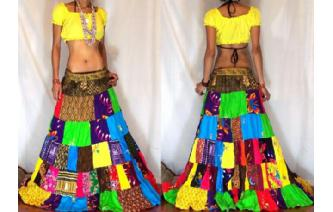 ETHNIC PATCHWORK BOHO GYPSY HIPPIE LONG SKIRT 8 I3 Image