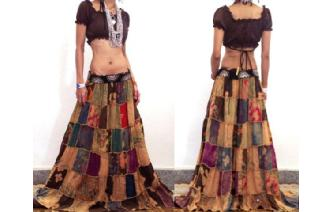 GYPSY BOHO HIPPIE ETHNIC Vtg PATCH LONG SKIRT I5 Image