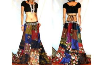 GYPSY BOHO HIPPY PATCHWORK FAIRY HIPPIE SKIRT I7 Image