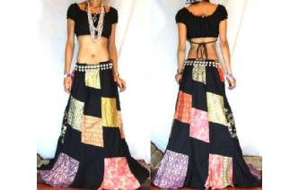 GYPSY BOHO HIPPY PATCHWORK FAIRY HIPPIE SKIRT I10 Image