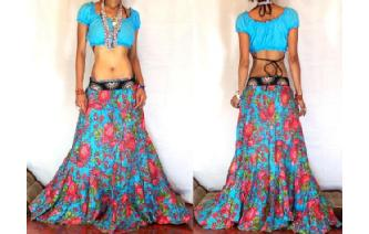 ETHNIC BATIK FLOWER PANELED GYPSY HIPPIE SKIRT E14 Image