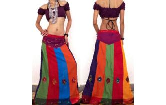 ETHNIC PANELED PATCH EMBROID MIRROR BOHO SKIRT I37 Image