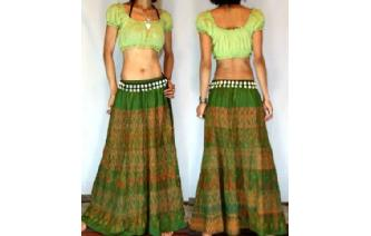 ETH VTG HAND WOVEN SILK PATCH BOHO GYPSY SKIRT I41 Image