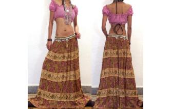 ETHNIC RAYON CHEESECLOTH PATCH EMBROIDER SKIRT I49 Image