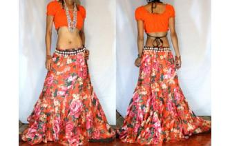 ETHNIC BATIK FLOWER PANELED BOHO GYPSY SKIRT I50 Image