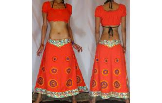 BOHO GYPSY ETHNIC UNIQUE PANELED EMBROID SKIRT I52 Image