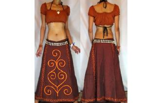 BOHO GYPSY ETHNIC PANELED EMBROID HIPPIE SKIRT I54 Image