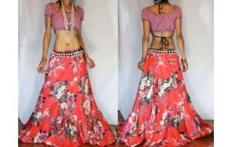 ETHNIC BATIK FLOWER PANELED GYPSY HIPPIE SKIRT I60 Image