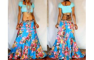 ETHNIC BATIK FLOWER PANELED BOHO GYPSY SKIRT I62 Image