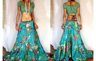 ETHNIC BATIK FLOWER PANELED BOHO HIPPIE SKIRT I63 Image