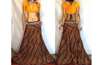 URBAN ETHNIC LONG PATCH BOHO GYPSY FULL SKIRT I66 Image