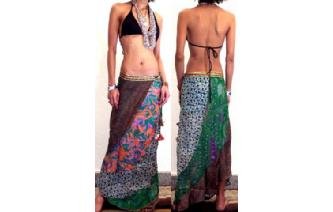 GYPSY BOHO SILK PANELE PATCH WRAP HIPPIE SKIRT Z20 Image