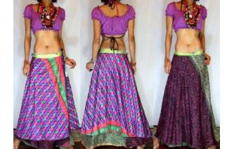 BOHO Vtg RETRO 2LAYER SILK WRAP HIPPIE SKIRT Z22 Image