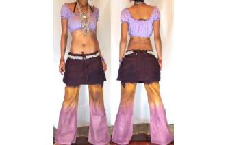 HIPPIE BOHO PANTS TROUSERS WITH ATTACHED SKIRT Q5 Image