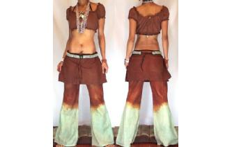 HIPPIE BOHO PANTS TROUSERS WITH ATTACHED SKIRT Q6 Image