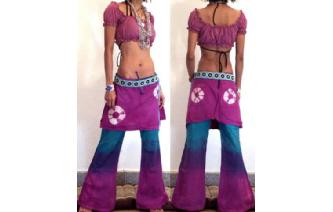 HIPPIE BOHO PANTS TROUSERS WITH ATTACHED SKIRT Q9 Image